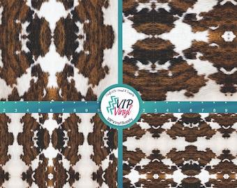 Cowhide Brown Black HTV Cow Animal Print Fur Mexico Serape Printed  Print Pattern Sheet Heat Transfer Vinyl Iron On Sheet 12 x 17