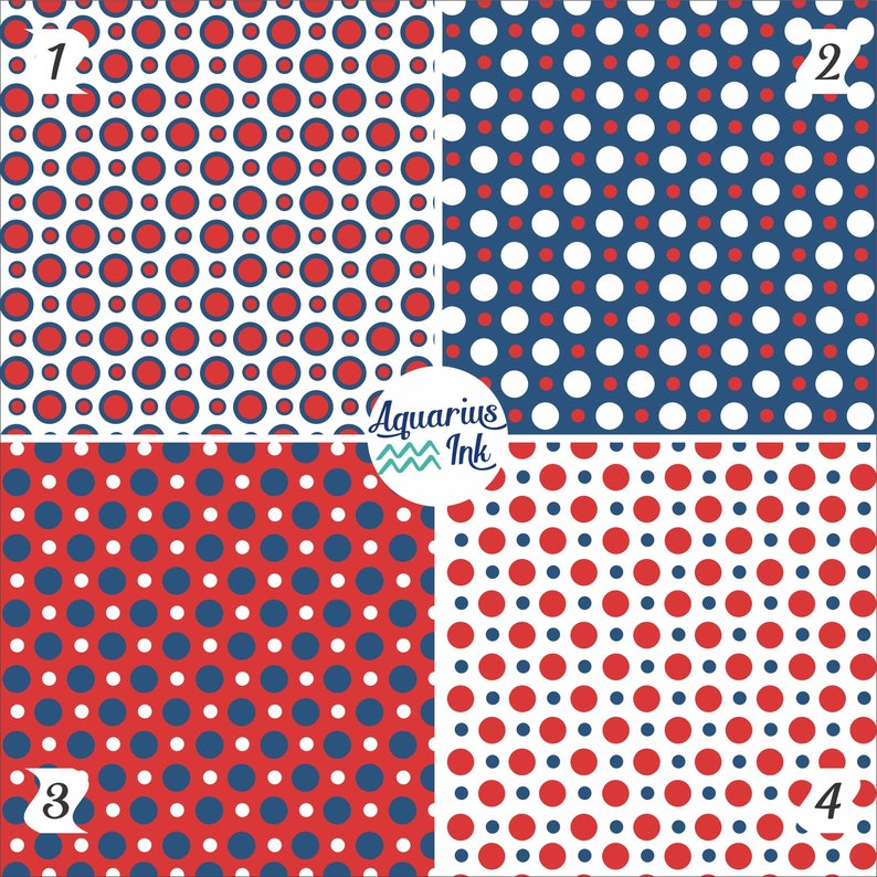 7ff713ffd29 Polka Dot Pattern HTV Vinyl Patriotic Red White and Blue