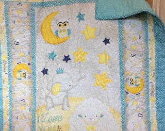 I Love you to the moon and back baby quilt