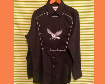 15295a15 Vintage Eagle Western Button Up