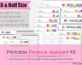 Printable Finance Assistant Kit - A5 and Half Size