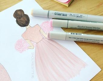 Roses and Dresses - Fashion Illustration