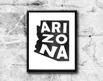 Printable Art, Arizona State map Art Print, Instant download, Printable Wall art, United States of America, Arizona poster, home decor print