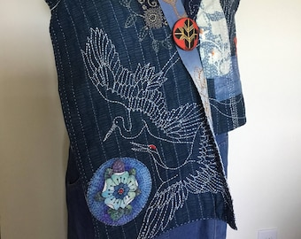 Indigo Dye Sashiko Cotton Scarf / Hand Dyed /embroidery/stitch/ Japanese motifs / wearable art /fish /crab/ flower/crane
