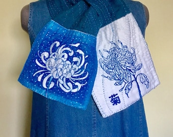 Indigo Dye Sashiko Cotton Scarf / Hand Dyed / Japanese motifs /Japanese crest / wearable art /Chrysanthemum
