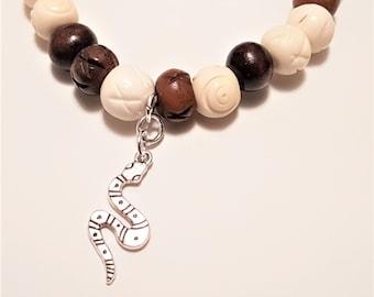 Bracelet, stretch bracelet, bone beads wood beads, Snake, charms