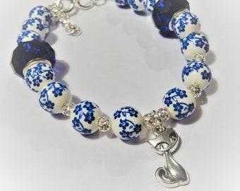 Beaded bracelet, Ceramic beaded bracelet, European beads, spacer beads, charm bracelet, Cat charm