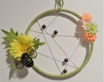 """Dreamcatcher, suede, flowers, bee, beads, 5"""" hoop"""