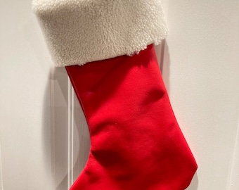 Leather Christmas Stocking - red