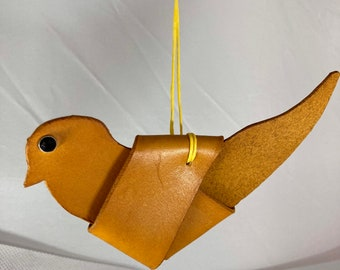 Ornaments - birds - leather - yellow, red, blue.