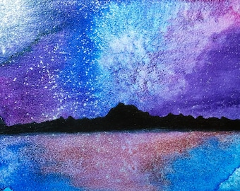 night sky #2, watercolor, mixed media, 5in x 7in