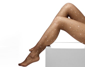 1a3f3a40d71ee Dark Brown Crystal Fishnet Tights | Handmade Bling Sheer Stockings,  Lingerie, Instagram Fashion