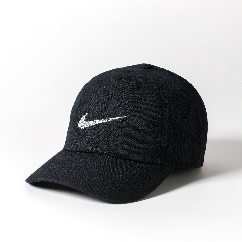 465b94a0ebb56 Black Crystal Nike Cap Baseball Cap Women Baseball Mom   Etsy