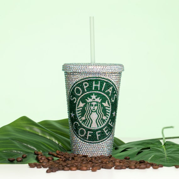 Custom Starbucks Tumbler With Straw Americano Crystals Personalized Tumblers Reusable Coffee Cup Starbucks Cups Monogram Tumbler Cups