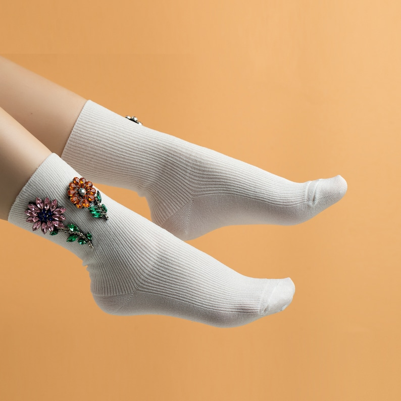 411b17966 Glitter Socks Floral Lurex Socks Fuzzy Socks Novelty