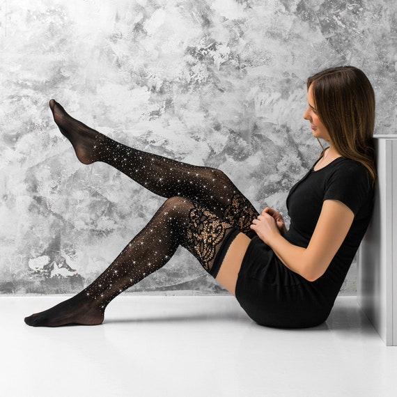 09c067586f929 Cuban Heel Stocking Black Tights Rhinestones Lolita Tights   Etsy