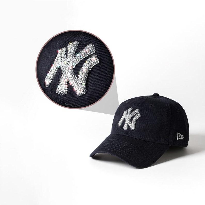 e4486810f Black Swarovski Embellished New York Yankees Hat   Baseball Cap Women,  Baseball Mom, New Era Mlb Hat, Ball Cap
