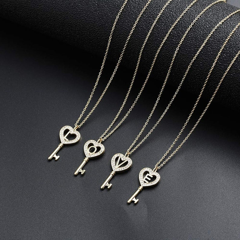 Gold Key to Your Heart Initial Necklace Couple Necklace Anniversary Gift Key Pendant Gift for Girlfriend Letter S Necklaces for Girls