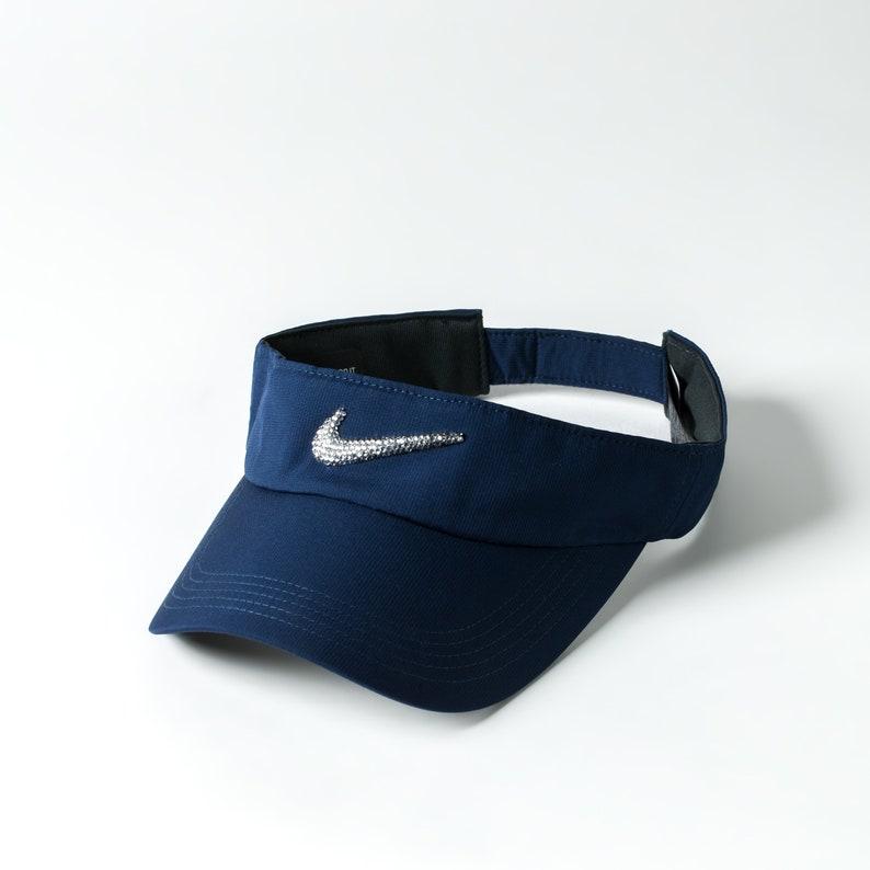 d814350f600244 Dark Blue Bling Nike Visor Hat Golf Visor Tennis Gifts | Etsy