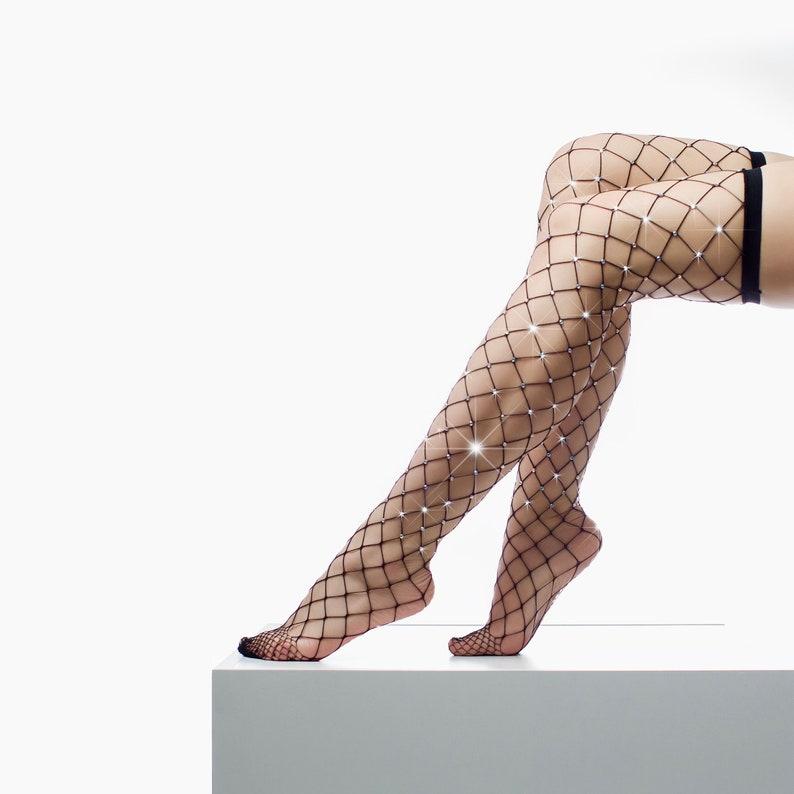 8455ea9ac8a87 Black Crystal Fishnet Tights Bling Fishnet Stockings Lolita   Etsy