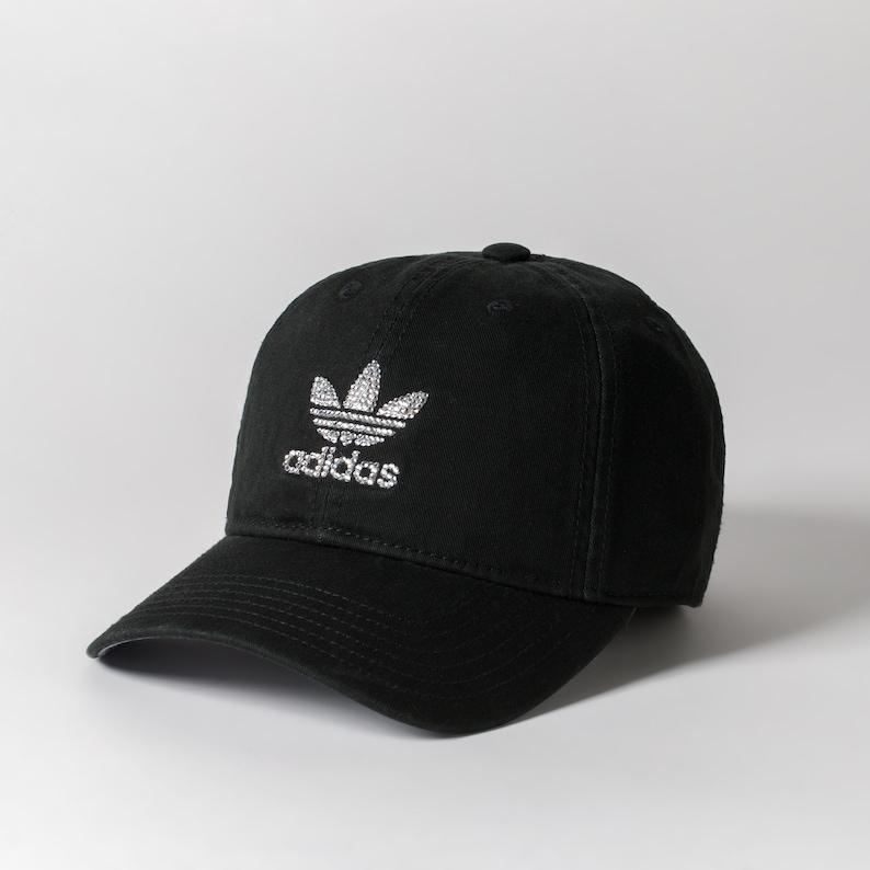 eb10a870 Black Adidas Baseball Cap Women Adidas Hat Bling Ball Cap | Etsy
