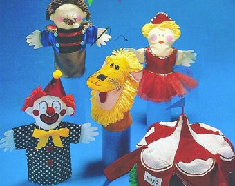 Vintage Sewing Pattern Fabric Circus Puppets and Tent Carry Case Playset PDF Instant Digital Download Clown Lion Lady Ringmaster Hand Puppet
