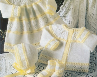 bf8a5d00a Vintage Knitting Pattern Knit Baby Rosebud Layette Set Matinee
