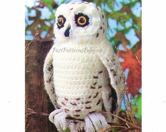 "Vintage Crochet Snowy Owl Pattern 13"" PDF Instant Digital Download Owl Amigurumi Plush Stuffed Soft Toy Forest Woodland Animal 4 Ply"