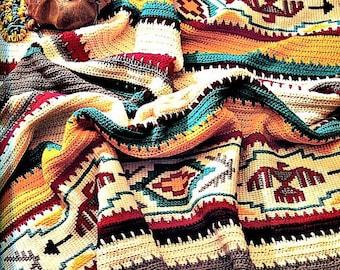 Vintage Crochet Afghan Indian Blanket Pattern PDF Instant Digital Download S Navajo Southwestern Aztec Design 45x64