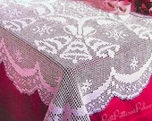 Vintage Filet Crochet Pattern Christmas Bells Tablecloth PDF Instant Digital Download White Thread Cotton Rectangle Holiday Table Cloth