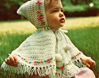 Vintage 1970s Crochet Precious Baby Girl Poncho with Hood Pattern Embroidered Flowers PDF Instant Digital Download Retro Hooded Girls Poncho