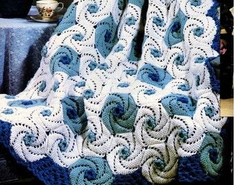 Vintage Crochet Pattern Ocean Waves Spirals Afghan PDF Instant Digital Download Deep Blue Sea Waves Swirl Squares Blanket Throw Afghan 48x76