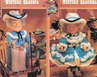 Vintage Crochet Pattern Western Grandpa and Grandma Crocheted Outfits for  13 14 inch Dolls PDF Instant Digital Download Cowboy Cowgirl 72d36194362