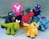 Vintage Crochet Pattern 6-8 quot Colorful Dinosaurs Amigurumi Soft Toys PDF Instant Digital Download Plush Winged Dino Wings 6 Designs DK 5 Ply