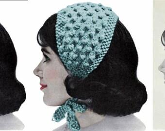 Vintage Knitting Pattern Womens Popcorn Stitch Headband Hat PDF Instant  Digital Download Retro 1940s Bobble Head Scarf Wrap Hat 41d0547ff9da