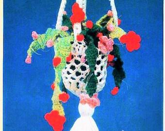 Instant PDF Download Vintage Planter Basket Crochet Pattern