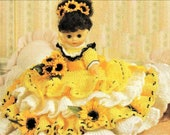 Vintage Crochet Pattern Pillow Doll Bed Doll Sunflowers Dress Outfit For 8 quot Pillow or 13 quot Standing Dolls PDF Instant Digital Download