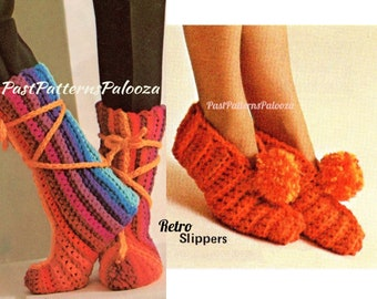 Vintage Crochet Pattern Womens Victorian Boot Slipper Socks PDF Instant Digital Download Retro House Booties Slippers Size 5-9 4 Ply