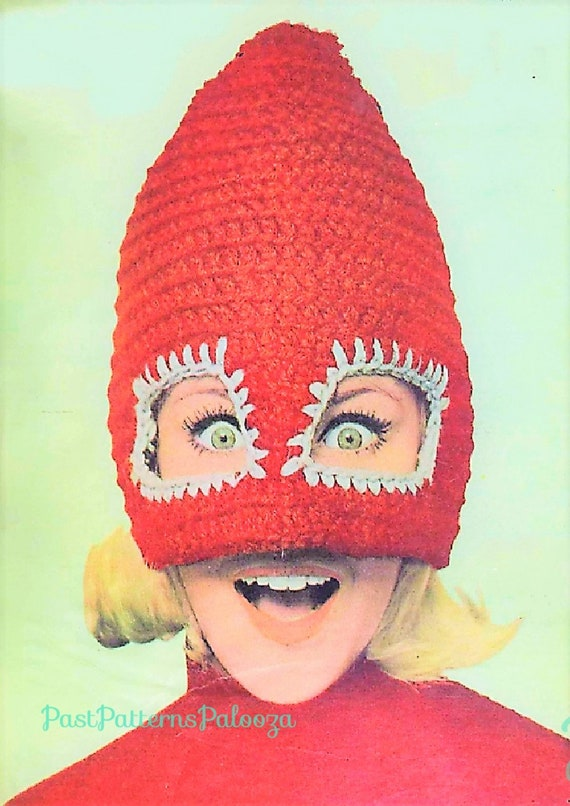 Vintage Crochet Pattern Retro 60s Womens Ski Mask Mad Cap Hat Etsy