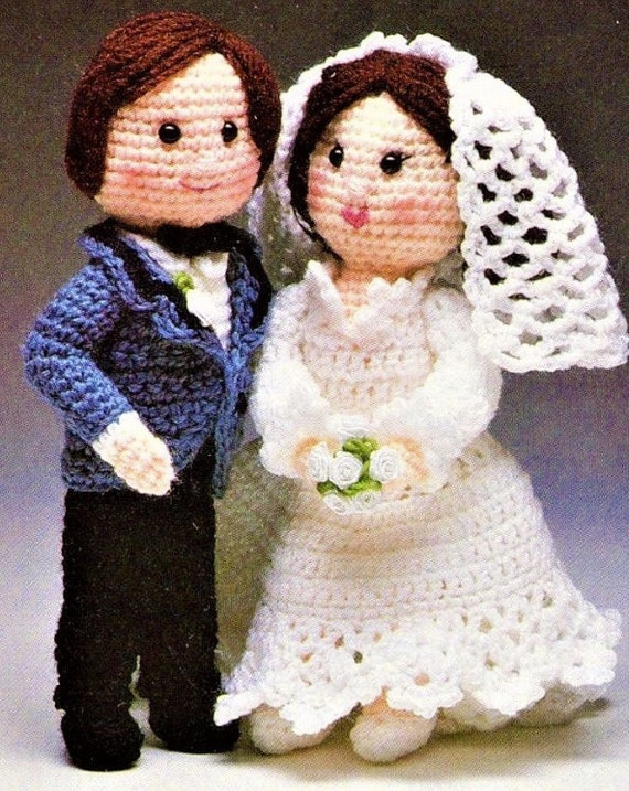 Vintage Crochet Bride And Groom Dolls Pattern Wedding Couple Etsy