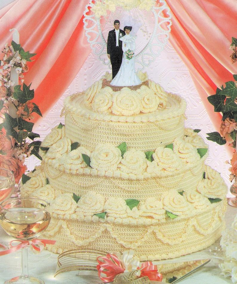 Vintage Crochet Pattern Beautiful Wedding Cake 10x14 PDF