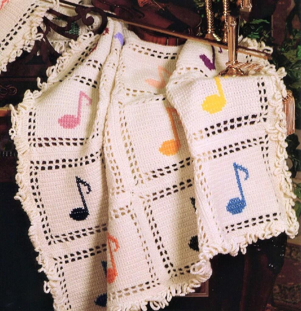Vintage Crochet Pattern Music Notes Afghan Design Pdf Instant Etsy