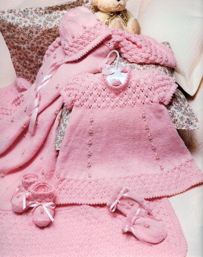 6d3456774 Vintage Knitting Pattern Knit Baby Rosebud Layette Set Matinee