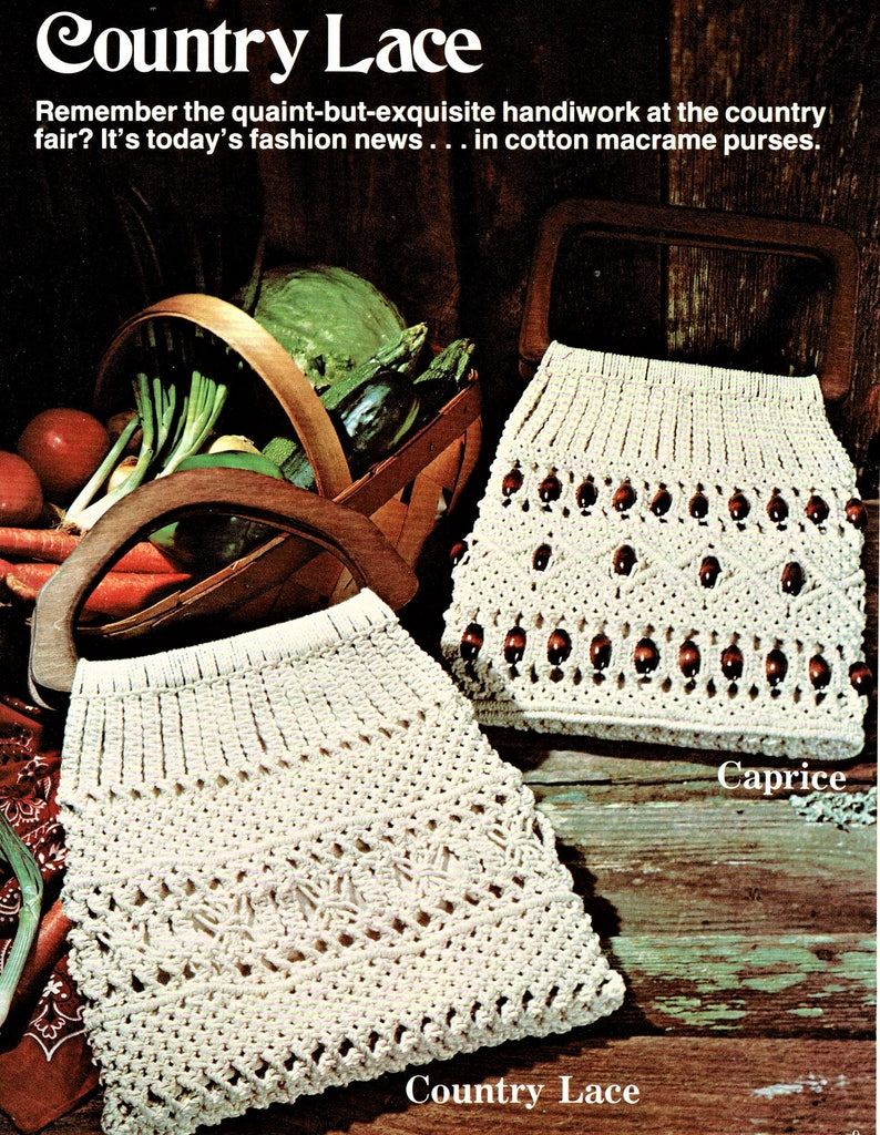 Vintage Macrame Patterns Fancy Knots Macrame with The Look of Lace Purses Handbags Plant Hangers PDF Instant Digital Download 14 Projects