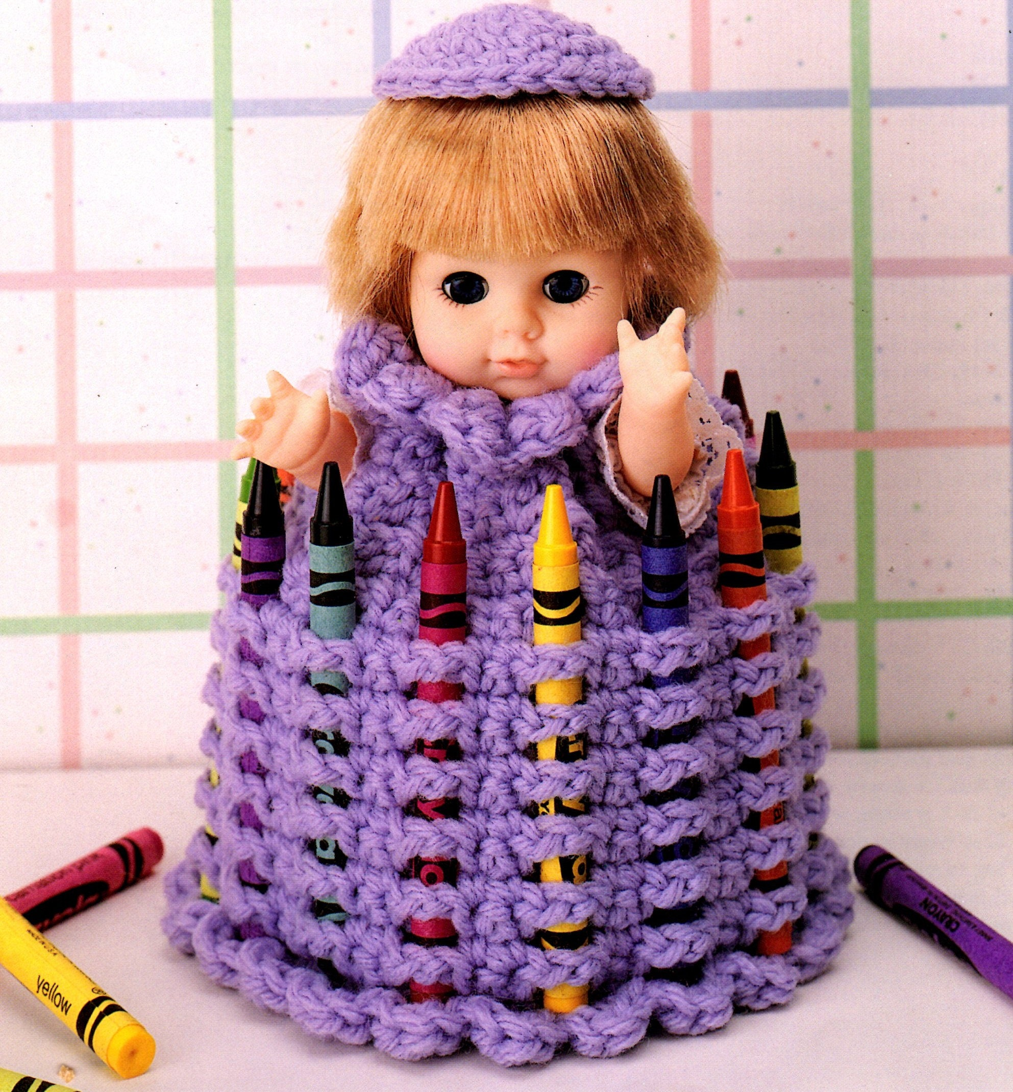 Vintage Crochet Pattern Doll Dress Crayon Keeper For 8 Inch Etsy