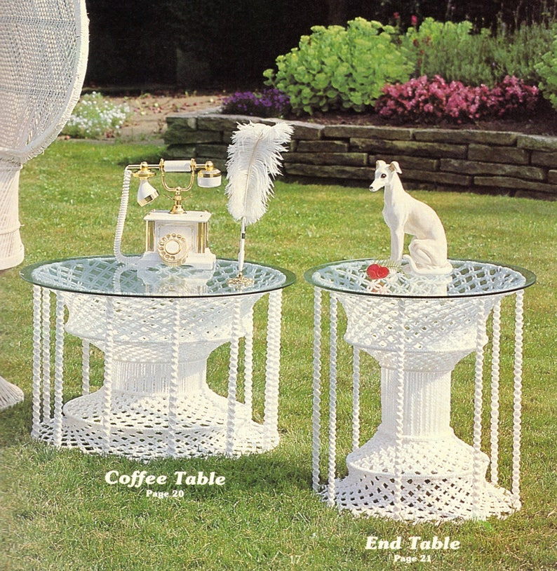 Vintage Macrame Dining Table Coffee Table and End Tables Patterns PDF Instant Download Bathroom Living Room Pillows 23 Home Decor Projects