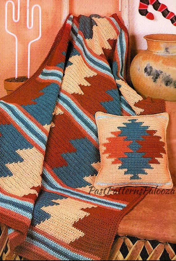 Vintage Crochet Afghan Pattern Southwestern Desert Sunset