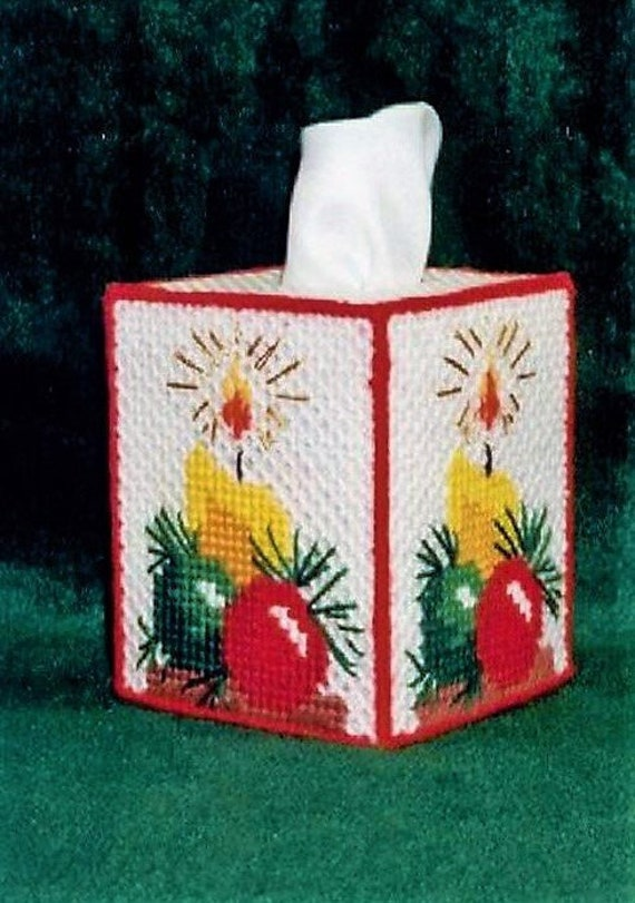 Plastic Canvas Christmas.Vintage Plastic Canvas Christmas Candle Tissue Box Cover Pattern Holiday Tissue Topper Pdf Instant Digital Download