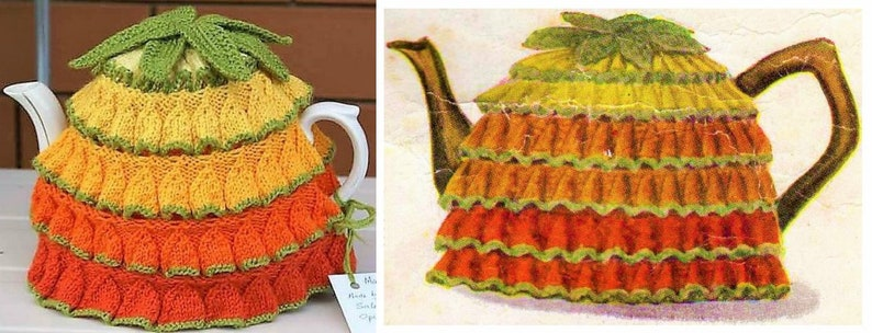 d93bd0da7 Vintage Knitting Pattern 1945 Knit Daffodil Stitch Tea Pot Cosy Cozy Cover  Teapo... Vintage Knitting Pattern 1945 Knit Daffodil Stitch Tea Pot Cosy  Cozy ...