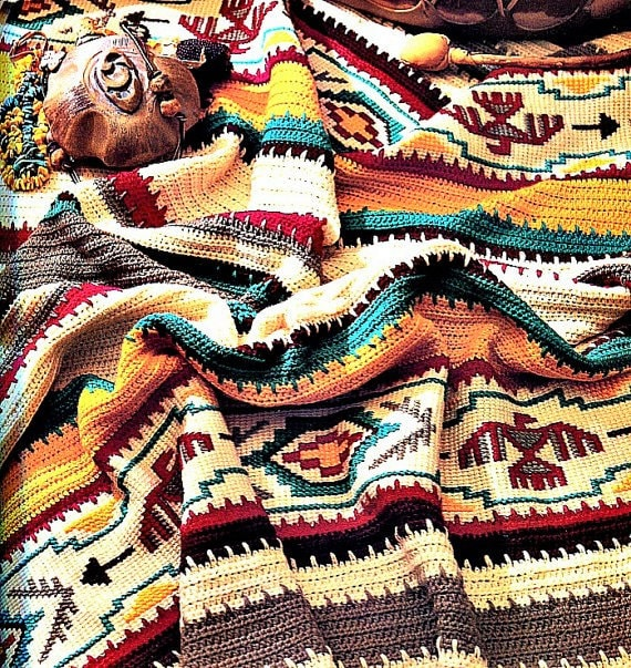 Vintage Crochet Afghan Indian Blanket Pattern PDF Instant